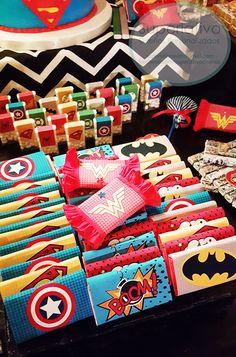 Superman Birthday Party, Avengers Birthday, Batman Party, Birthday Party Decorations, 1st Birthday Parties, 4th Birthday, Party Themes, Superhero Party Favors, Wonder Woman Party
