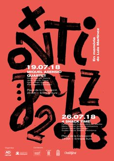 Poster for jazz festival. Ontijazz 2018 - Poster for jazz festival. Ontijazz 2018 Poster for jazz festival. Typography Poster Design, Typographic Poster, Graphic Design Posters, Graphic Design Illustration, Graphic Design Inspiration, Jazz Poster, Poster Art, Poster Layout, Jazz Festival