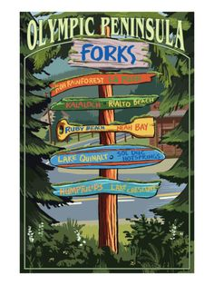 Forks, Washington - Sign Destinations Art Print