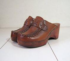 70s Sandals Vintage Wood Clogs Boho Woven Leather by voguevintage