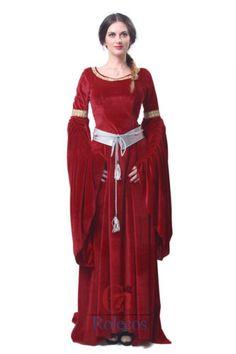 Women Mediaeval Dress Vintage Gothic Red Navy Velvet O Neck Bell Long Sleeve Maxi Dress Halloween Costume For Lady Plus Size Costume Renaissance, Renaissance Dresses, Medieval Dress, Party Gown Dress, Ball Gown Dresses, Party Gowns, Red Costume, Costume Dress, Celtic Dress