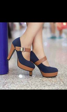 Brown and dark blue heel shoes really pretty