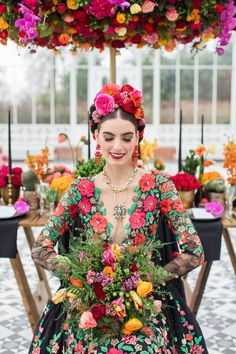 Inspired by Frida Kahlo colourful floral wedding editorial, dress by Joanne Fleming Design, photo by Roberta Facchini Mexican Fashion, Mexican Style, Fern Wedding, Floral Wedding, Frida Kahlo Wedding, Wedding Themes, Wedding Dresses, Wedding Ideas, Frida And Diego