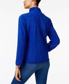 Karen Scott Zeroproof Fleece Jacket, Only at Macy's - Black XXL