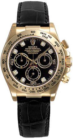 Rolex Daytona Black Diamond Dial Leather Bracelet Tachymeter Bezel 18k White Gold Mens Watch 116519BKDL Breitling Watches, Rolex Watches For Men, Luxury Watches For Men, Men's Watches, Dream Watches, Diamond Watches, Nice Watches, Elegant Watches, Rolex Daytona