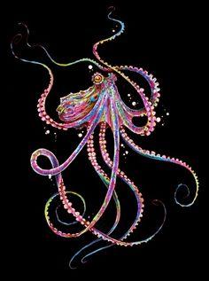 Reverse Drunk Octopus Art Print by taojb – Octopus Tattoo Octopus Tattoo Design, Octopus Tattoos, Tattoo Designs, Leg Tattoos, Tattoo Thigh, Tattoo Ideas, Octopus Painting, Octopus Print, Octopus Artwork