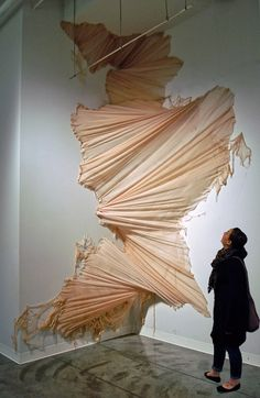 This is such a gorgeous way to view textiles. Carlie Trosclair pours fabric down the wall. Land Art, Sculpture Textile, Art Sculpture, Metal Sculptures, Abstract Sculpture, Sculpture Projects, Bronze Sculpture, Instalation Art, Art Plastique