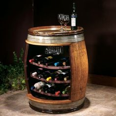 Wine barrel = wine bar.... This is awesome! I will have one of these in my house someday!