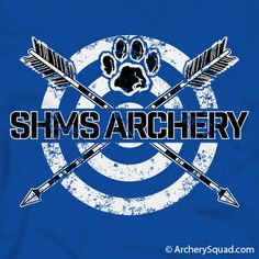 A 2 color design, White and Black, printed on a solid Royal T-Shirt. Customize this design! Perfect for any archery team! © Archery Squad, Inc. Archery Logo, Archery Shirts, Archery Club, Club Shirts, Team Shirts, Basketball Shirts, The Middle, Vinyl Projects, Girls Be Like