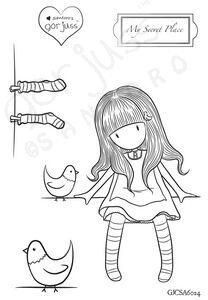 Gorjuss Girl - Just Arrived!! MY SECRET PLACE Clear Stamp Sets New Colouring Pages, Adult Coloring Pages, Coloring Books, Santoro London, Drawing Journal, Illustrations, Digi Stamps, Copics, Fabric Painting