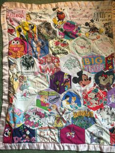 Quilt made of Allies favorite tshirts worn ages 1-5. Given on her 16th bday