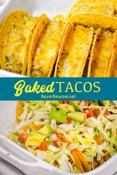 These Creamy ground beef baked tacos are made with corn or flour shells, ground beef, taco seasoning, cream cheese, and salsa before topping with shredded cheese for an easy dinner idea. This is one of my favorite ground beef recipes. #Tacos #MexicanFood #TacoTuesday #BakedTacos #GroundBeef #Recipes #EasyRecipes #DinnerIdeas Casserole Recipes, Meat Recipes, Snack Recipes, Dinner Recipes, Cooking Recipes, Healthy Recipes, Yummy Recipes, Cheese Recipes, Dinner Ideas