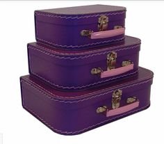 Euro Mini Suitcases in Purple - Set of 3 by Resource International Suitcase Storage, Suitcase Set, Vintage Suitcases, Vintage Luggage, Vintage Trunks, Euro, All Things Purple, Purple Stuff, Decorative Storage