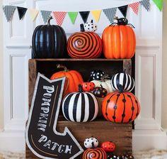 Painted Pumpkin Display - 101 Fabulous Pumpkin Decorating Ideas - Photos