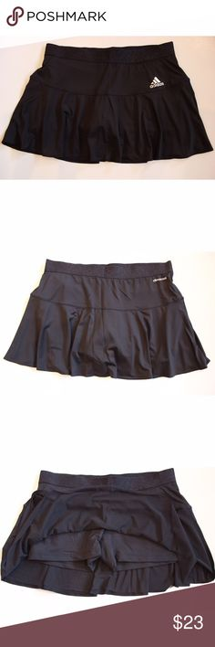 "Black Tennis Skort Climacool Skirt Style M33077 Measurements were taken with garment laid flat: Waist: 15"" Length: 12.5""   If you have any questions please let me know and I will be happy to reply. Adidas Skirts"