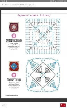 from Granny square collection 2016 Motifs Granny Square, Granny Square Crochet Pattern, Crochet Diagram, Crochet Squares, Crochet Chart, Diy Crochet, Granny Squares, Crochet Motif Patterns, Knitting Patterns