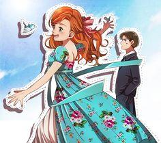 "Giselle and Robert from ""Enchanted"" - Art by りべら on Pixiv, found via Zerochan Disney Nerd, Disney Memes, Disney Films, All Disney Princesses, Disney Fairies, Princess Disney, Dreamworks Animation, Disney And Dreamworks, Disney Pixar"
