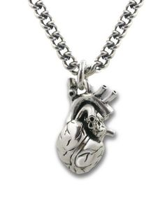 """Anatomical 3d Human Heart Antique Silver Necklace Gothic 32"""" Chain I could rock this at work lol"""