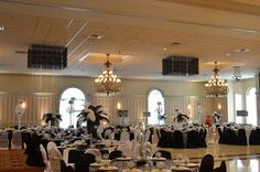 Black and White Event Custom Black Modular ceiling decor with hanging crystals