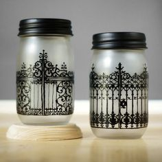 Wrought Iron Gates of Charleston SC, Hand Painted on Frosted Glass Mason Jars, Kitchen Storage or Candle Holder by LITdecor on Etsy https://www.etsy.com/ca/listing/163697438/wrought-iron-gates-of-charleston-sc-hand