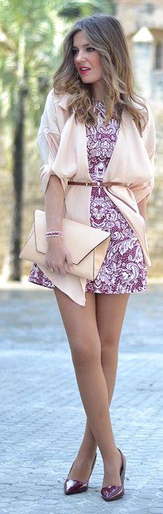 Oxblood Print Inspiration Dress by Mi Aventura Con La Moda