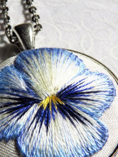 Art embroidery pansy thread painting by MargDierEmbroidery on Etsy