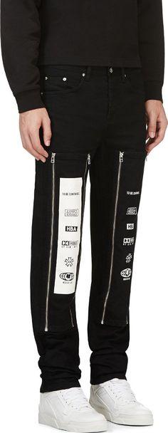 Hood By Air: Black Zip-Away Panel Jeans