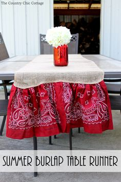 Make this summer burlap table runner for parties and backyard barbecues! A quick and easy project that is perfect for your home!