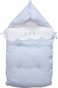 Mayoral Blue Padded Cotton Baby Nest with Bunny (80cm) | Childrensalon