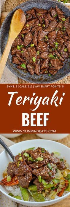 Slimming Eats Beef Teriyaki - gluten free, dairy free, paleo, Slimming World and. - Slimming world recipes - Recetas Yummy Recipes, Wok Recipes, Dairy Free Recipes, Healthy Dinner Recipes, Cooking Recipes, Gluten Free, Frying Steak Recipes, Recipies, Slimming World Dinners