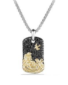 David Yurman Waves Tag with Black Diamonds and 18K Gold