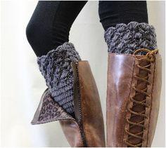 Boot Cuff, Boot cuffs, boot socks cuff, crochet  boot liners, handmade, knit, knitted, BOOTIE CUTIE dark grey crochet boot topper | CC0