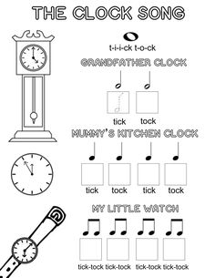 Let's Play Music : Free Music Theory Worksheet - The Clock Song - A Fun Way to Teach Kids Musical Note Values