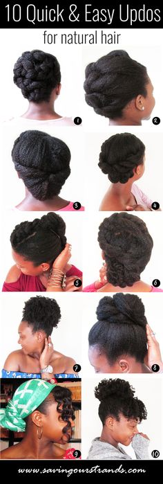 Quick Easy Protective Styles, Cute Hairstyles for Natural Hair, Hairstyles for Short Natural Hair, Hairstyles for long Natural Hair, Romantic Updos for Natural Hair