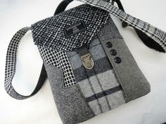 Crossbody Purse Recycled Crossbody Purse, iPhone pocket,Recycled mens go well with coat Wool, Eco Pl Mens Suit Coats, Mens Suits, Suit Vest, Tote Handbags, Purses And Handbags, Shabby Chic Stil, Men's Swimsuits, Womens Purses, Clothing Items