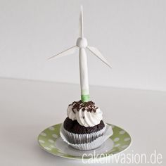 Cupcakes mit Windrad (Windkraftanlage)