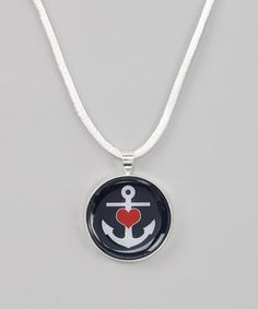 This White & Navy Heart Anchor Pendant Necklace by Bow Clippeez 2 Envy is perfect! #zulilyfinds