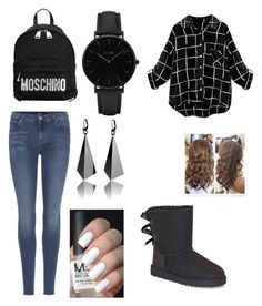"""""""chill time"""" by kerrie-highbargin-lenkerd ❤ liked on Polyvore featuring 7 For All Mankind, UGG, Moschino and CLUSE"""