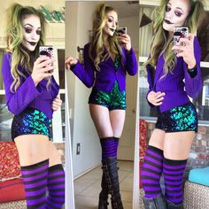 Halloween costume this year! Easy to do female joker! Halloween costume this year! Easy to do female joker! Female Joker Costume, Joker Halloween Costume, Batman Costumes, Cute Costumes, Halloween Outfits, Girl Costumes, Costumes For Women, Female Villain Costumes, Female Joker Halloween