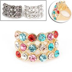 Personality Exquisite Fashion Rectangle Width Design Rings (Can choose size 16#,17#,18#,19#) (Color Will Be Random)