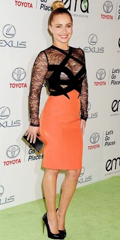 Hayden Panettiere in sheer lace dress with orange skirt and sky high heels