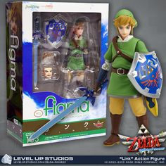 The most detailed and poseable Link action figure ever is here to brighten up your desk, add some color to your shelves, and possibly break a few clay pots. And this time, he's wearing pants! 	The Hero of Time is featured in his Skyward Sword outfit, wielding the Master Sword and his unbreakable Hylian Shield. With multiple faces and pedestal that allows for dozens of different poses, you can capture Link doing anything from his patented Swo…