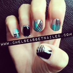 What I Used:  -Essie Licorice  -China Glaze For Audrey  -China Glaze Techno  -Lechat nail art stripers in black  -Seche Vite Top Coat