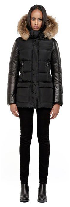 Mackage - ORLA BLACK WINTER DOWN JACKET FOR WOMEN WITH FUR HOOD AND LEATHER SLEEVES. www.mackage.com #winter #parka #womenswear #fw14 #mackage
