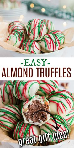 Sweet and nutty homemade truffles are as easy as can be with this Chocolate Almond Truffle recipe! Learn how to make truffles at home and impress everyone with these delicious candies. Holiday Baking, Christmas Desserts, Holiday Treats, Christmas Treats, Christmas Baking, Holiday Recipes, Christmas Goodies, Homemade Christmas, Christmas Christmas