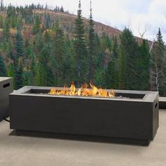 The Lanesboro Rectangle Steel Propane/Natural Gas Fire Pit keeps it simple. Its sleek straight lines make it the perfect choice for anyone looking to add modern style to the patio. Emitting BTU's of heat, this fireplace is perfect for any cool summ Propane Fire Pit Table, Fire Table, Fire Pit Landscaping, Fire Pit Backyard, Landscaping Ideas, Large Backyard, Backyard Patio, Outdoor Fire, Indoor Outdoor