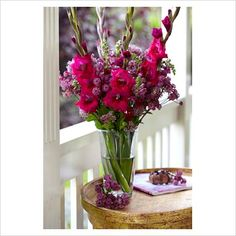Hot pink gladiolus centerpiece - minus the extra flowers (low pollen)