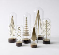 MODERN BRASS FOREST TREE SET OF 6