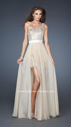{ 18945 | La Femme Fashion 2013 } La Femme Prom Dresses - One Shoulder - Sequin Mini - Nudes & Neutrals - Sheer Skirt