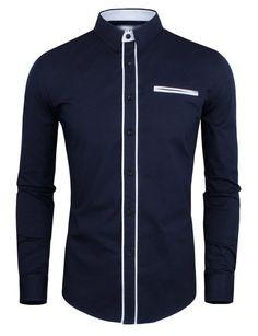 Tom's Ware Mens Classic Slim Fit Contrast Trim Longsleeve Shirt M Size  Medium